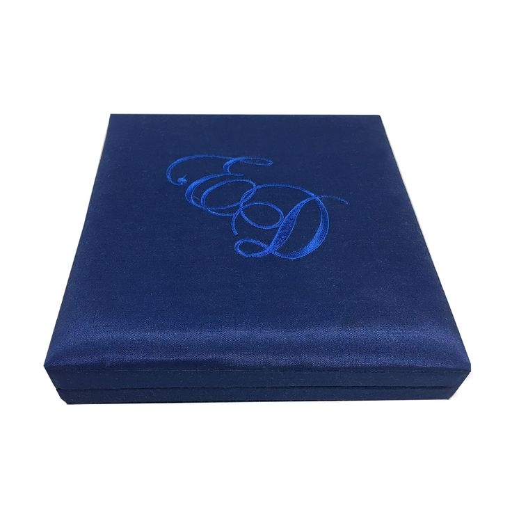 box wedding invitations online%0A Monogram Embroidered Royal Blue Square Silk Wedding Invitation Box