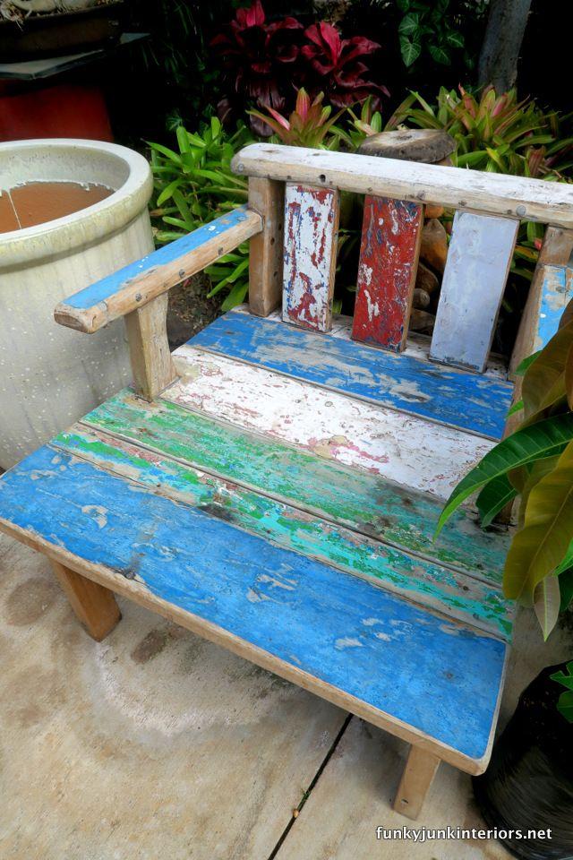 Distressed outdoor wooden furniture / South Maui Gardens, a tropical plant nursery tour / funkyjunkinteirors.net