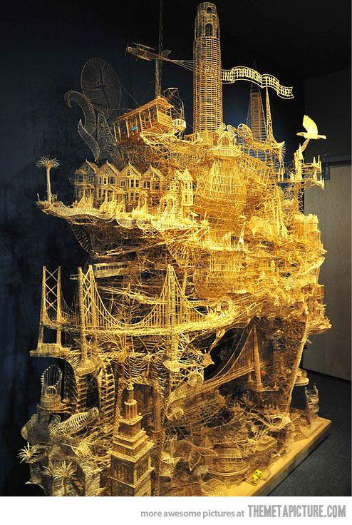 103,987 toothpicks later…: 36 Years, L'Wren Scott, Francis Weaver, Toothpick Art, Things, San Francisco, Toothpick Sculpture, 103 987 Toothpicks