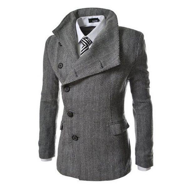 2015 Nieuwe Mode Herfst Mannen Plaid Slim Fit Trenchcoat Vintage Casual Lange Jas Mens Overjas Windjack Jassen 13M0275(China (Mainland))