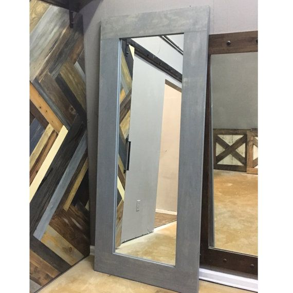Vintage Gray Framed Mirror Sliding Barn Door By Rustic Luxe Grey Framed Mirrors Rustic Luxe Sliding Mirror
