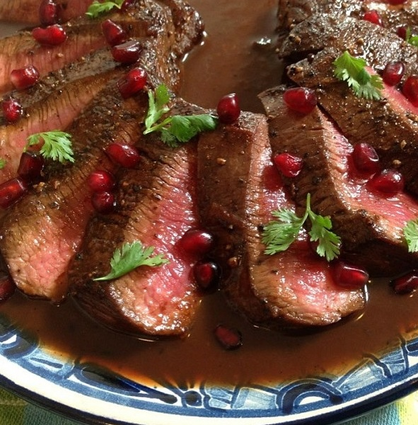 Lamb tenderloin with a tamarind & pomegranate reduction.