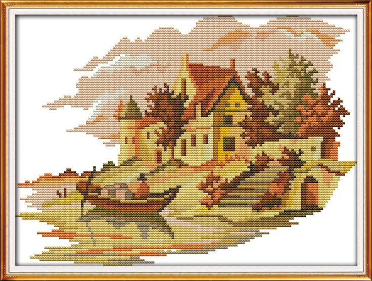 На берегу озера домов (2), подсчитывали напечатаны на ткани DMC 14CT 11CT Вышивка Крестом наборы, вышивка рукоделие наборы, Домашний Декор