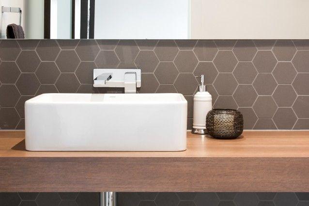 Polytec Square edge vanity top in Sepia Oak Ravine.