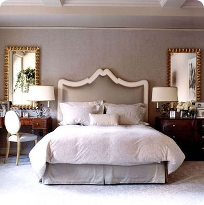 Master Bedroom With Desk As Bedside Table Mirrors Above And That Headboard For The Home