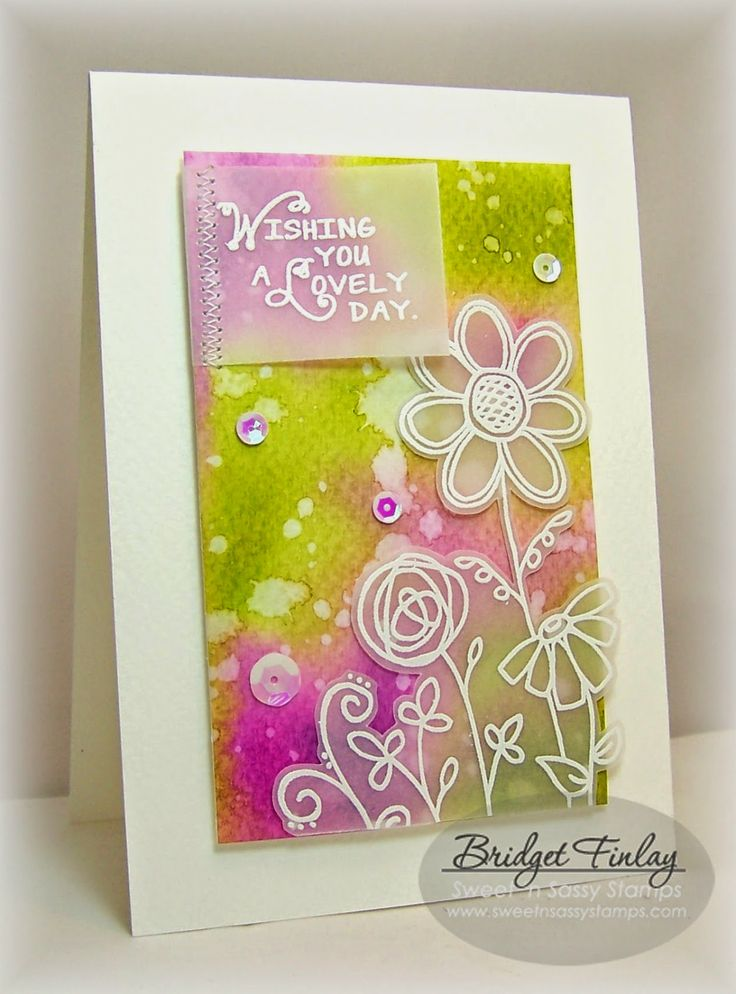 Watercolor background, white embossing on vellum, fussy cut