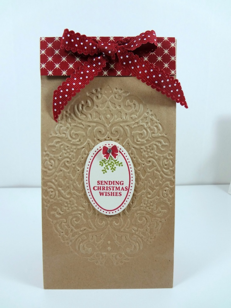 WOW...simple brown lunch bag into a elegant gift bag with ...