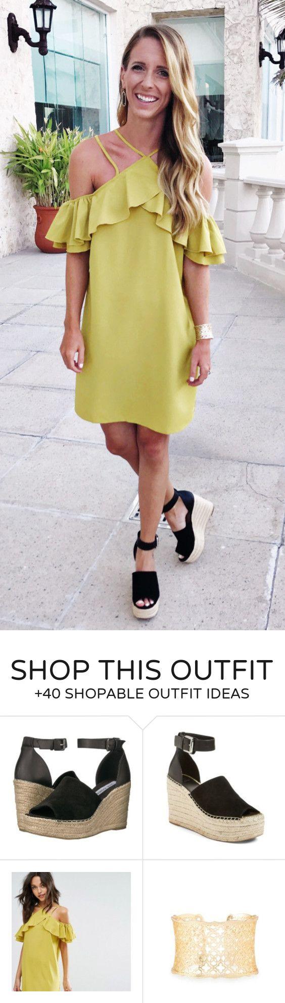 Trajes de verano Amarillo vestido de un hombro + Cuña Negro