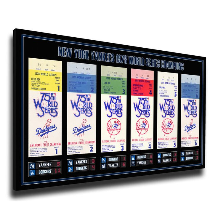 New York Yankees 1978 World Series Champions Tickets To History Canvas Print