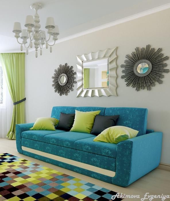 бирюзовый диван в интерьере - Поиск в Google