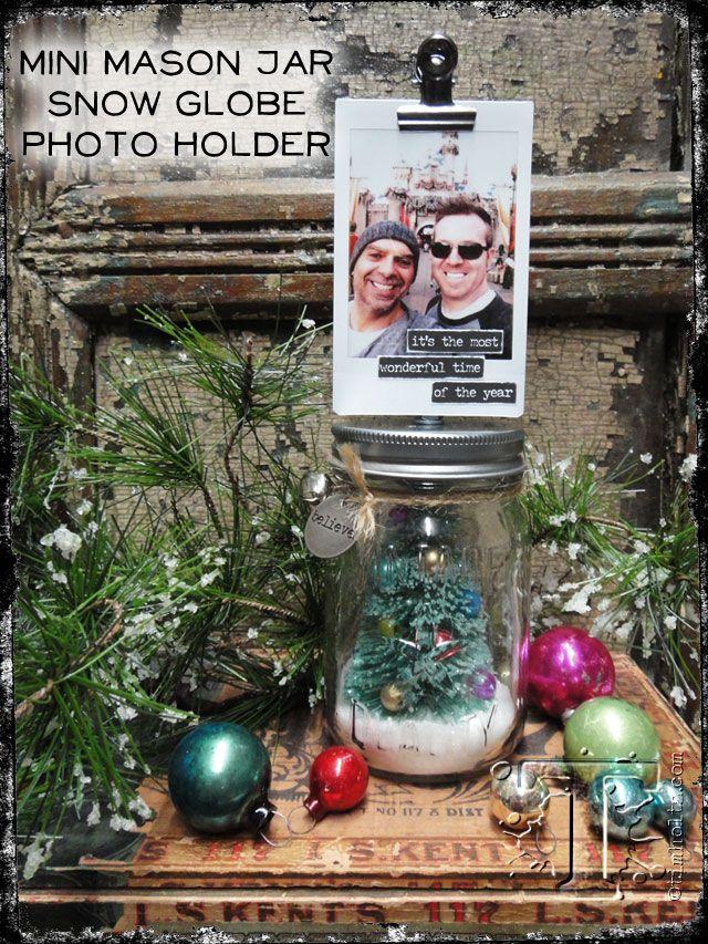 mini mason jar snow globe photo holder…