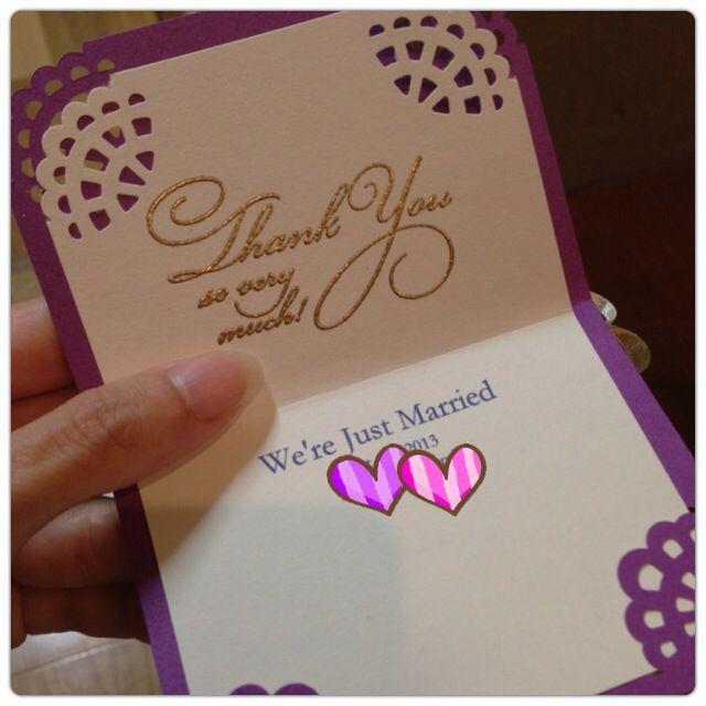 2013.10.1 サンキューカード を手作り!エンボス加工とリボンでリッチに❤ : megBlog 結婚式・披露宴@帝国ホテル 準備ブログ