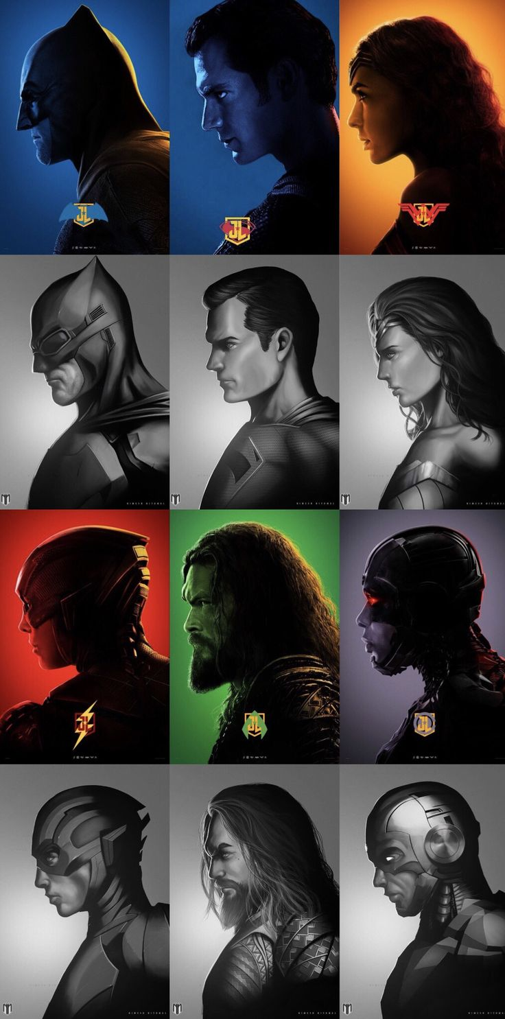 Justice League. Batman. Superman. Wonder Woman. The Flash. Aquaman. Cyborg.