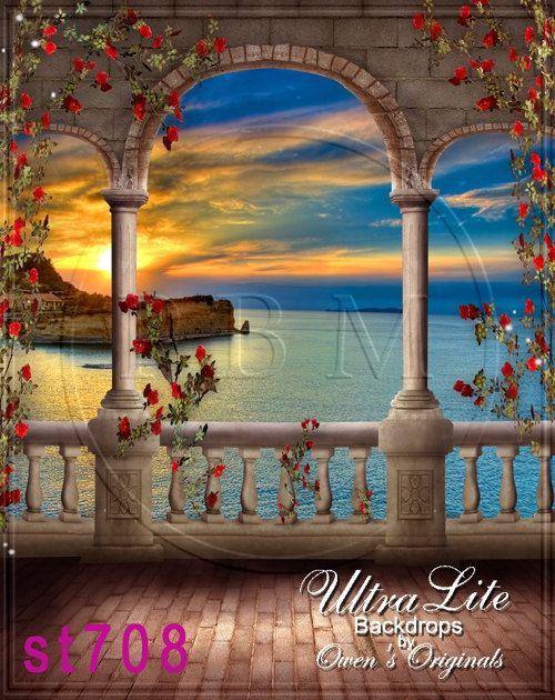 Fotografia fondali terrazza Rose foto panoramiche tramonto sfondo 5x7 ft Ultralite non-tessuto vinile ST708