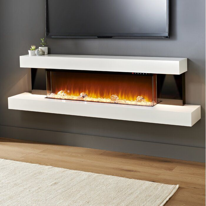 Latitude Run Tanessa Gloss Sides Wall Mounted Electric Fireplace