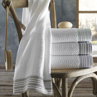 Provence Collection by Kassatex,18 Piece Towel Set by Kassatex (6 Bath, 6 Hand, 6 Wash) - The pleated border in its pale palette is a subtle chic detail.
