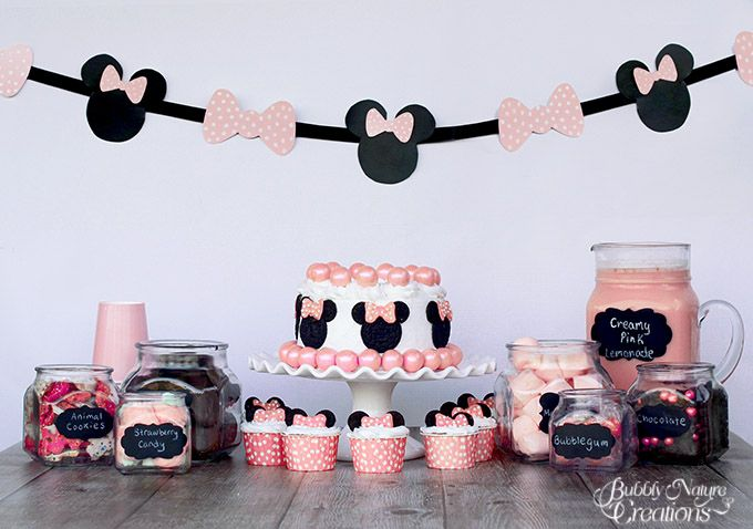 Cute Minnie Mouse Party!  Fun and easy ideas including chalkboard labels!  Even the cake is easy to decorate using gumballs and Oreo Cookies.  #brightstarkids #sponsored