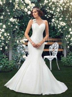 Robe de mariée sirène en satin avec fleurs noeud papillon pas cher