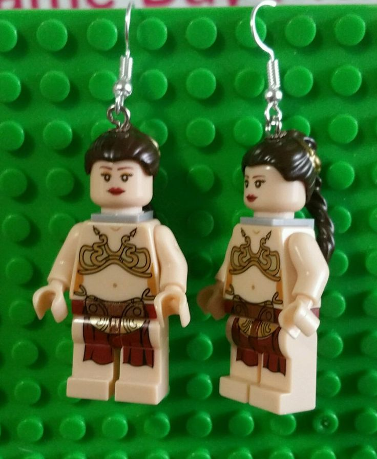Carrie Fisher - Slave Leia Earrings - Minifigure - Nickel Free Fish Hook Style - Star Wars Return of Jedi - Great Gift Idea - Lego Inspired! by GeekStreetShop on Etsy https://www.etsy.com/listing/487934528/carrie-fisher-slave-leia-earrings
