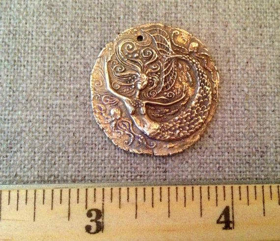 Bronze Mermaid and Octopi Coin Pendant by cynthiathornton on Etsy