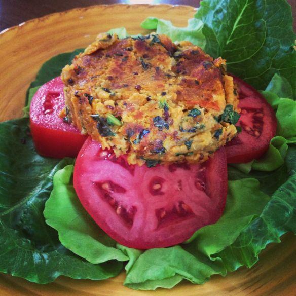 Sweet potato quinoa veggie burger.
