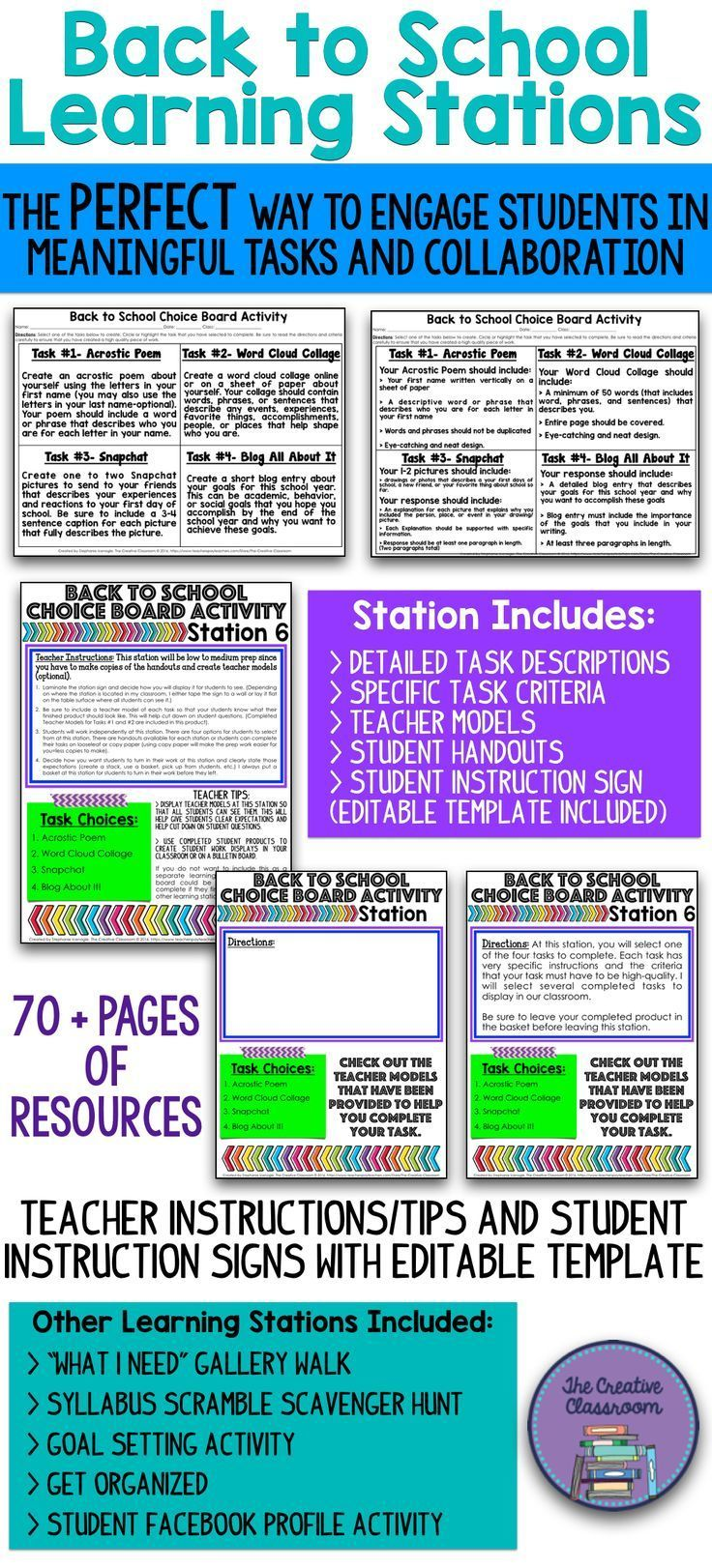 Are you looking for the perfect Back to School activity that will engage your students in meaningful tasks and collaboration on the FIRST day of school? The Back to School Learning Stations product, which contains over 70 pages of resources, is just what