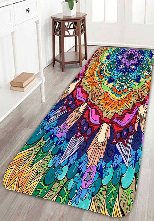 bohemian floral antiskid bath rug home decor - Home Decorator Items