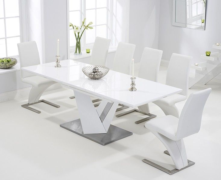 Buy The Harmony 160cm White High Gloss Extending Dining Table With Hampstead Z Chairs At Oak