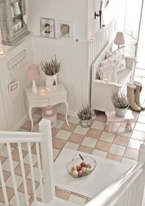 Beautiful pink and white checkerboard floor!