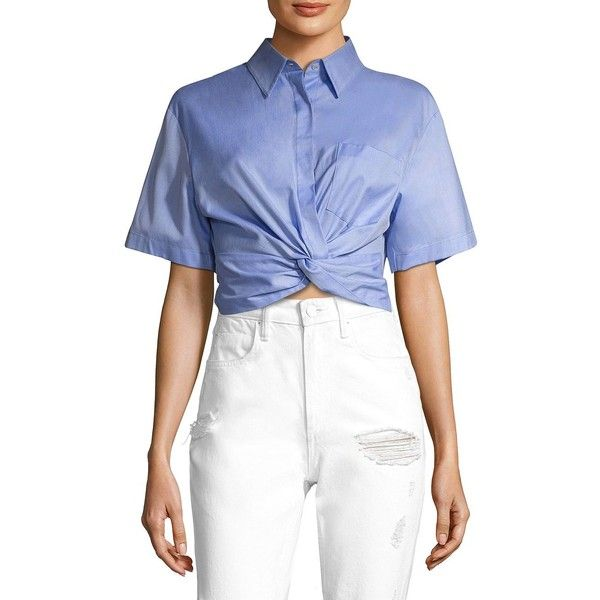 T by Alexander Wang Cotton Twill Twisted Front Cropped Shirt ($250) ❤ liked on Polyvore featuring tops, apparel & accessories, twist front top, shirt top, short sleeve tops, blue short sleeve shirt and blue short sleeve top