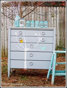 I love to stencil on old painted furniture!