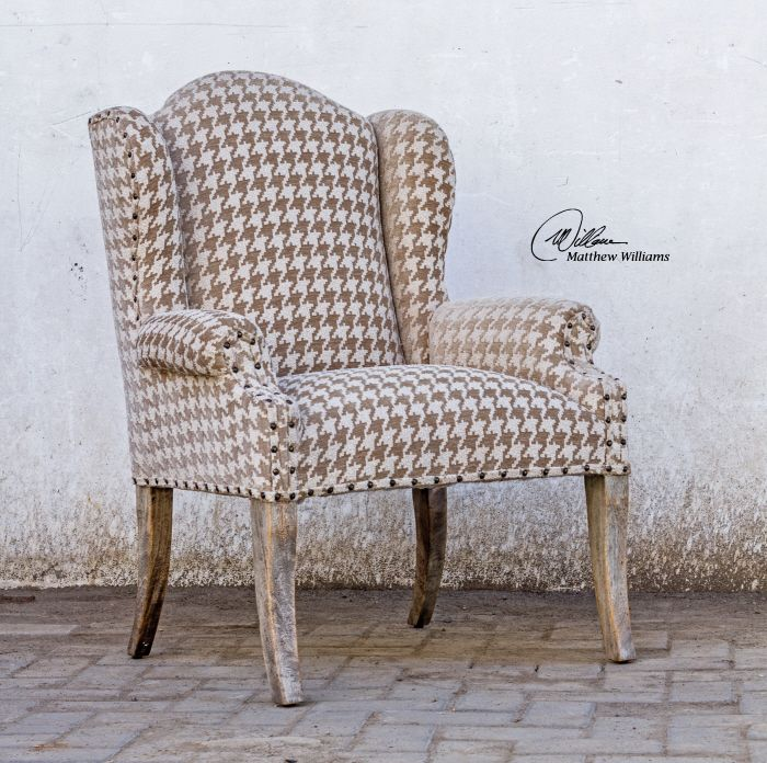 uttermost winesett armchair plush chenille in camel and ivory with rolled arms and wings