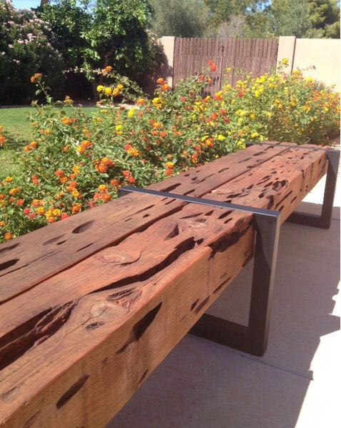 I build these benches with really neat Cedar beams and custom welded steel frames. People often think these are RR Ties ask how this wood got its character? These are not railroad ties and have no chemicals in the wood. This is just natural cedar. Cedar is known for its durability and resistance to bugs and moisture. The wormholes you see in the wood is actually because of a fungus the tree had in its infancy. The tree was then chopped down for milling and the fungus was killed. Often times…
