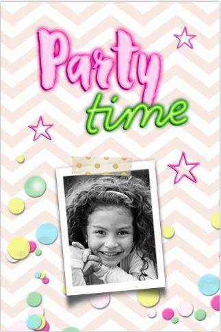 Feestelijke foto uitnodiging voor een kinderfeestje met confetti. Met roze chevron achtergrond en neon elementen. Alles is geheel zelf te bewerken.