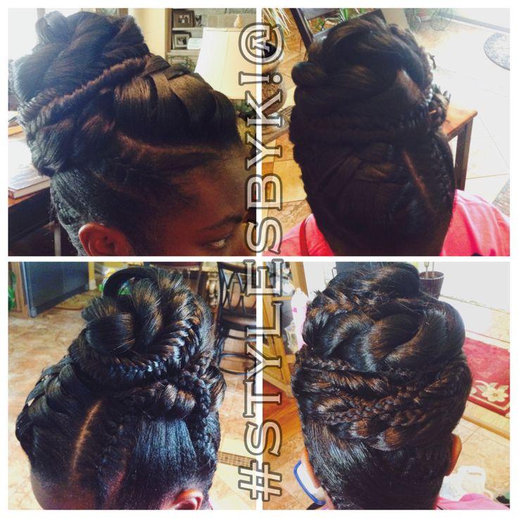 Fishtail Braid Updo Black Hair African American Wrap Bun Braids