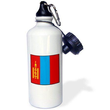 3dRose Photo Of Mongolia Flag Button, Sports Water Bottle, 21oz
