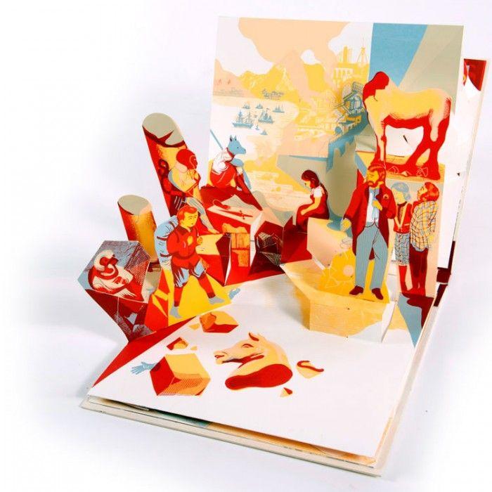 Momotaro - Livre popup réalisé, écrit et dessiné à 4 mains d'après une histoire classique japonaise, un étrange enfant naît d'un abricot et devient un héros… Sérigraphie 8 couleurs / Gauffré, doré, toilé / Coupé et monté à la main / 110 ex N°-S.DSC2600