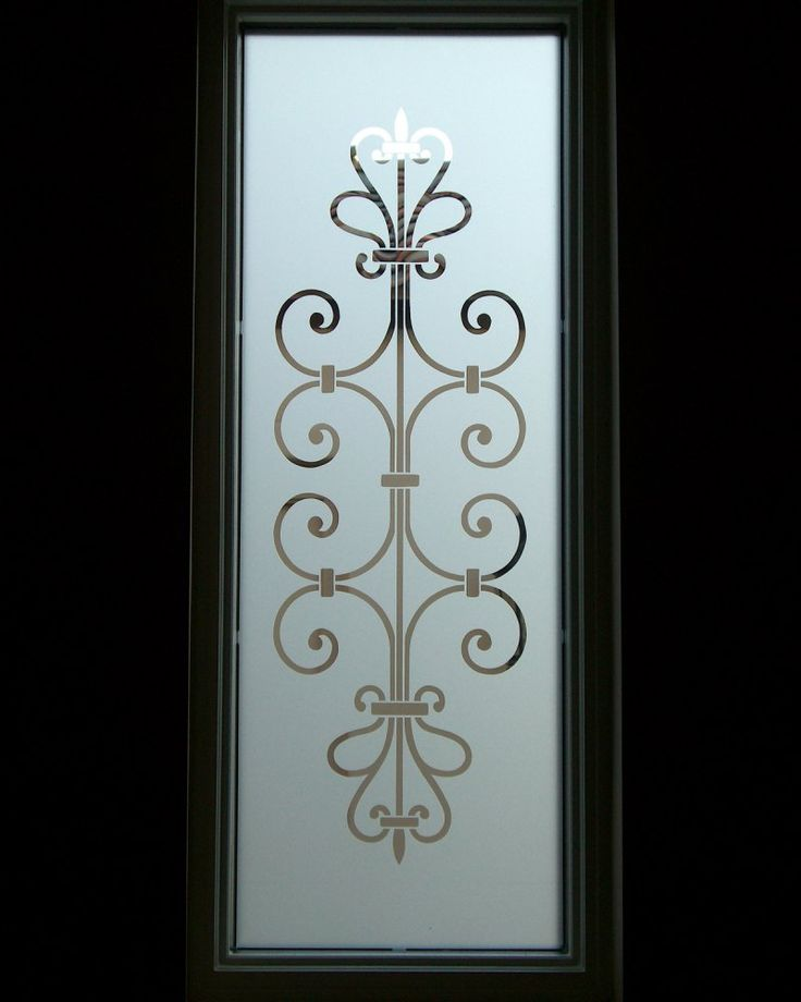 frosted glass entry window ironwork design- lovely lovely lovely for my shower door