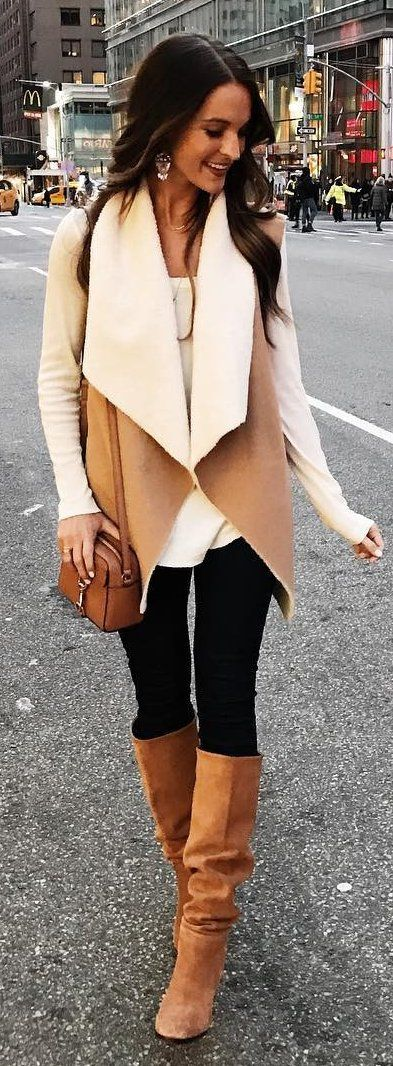 Camel Jacket / Black Leggings / Camel Boots