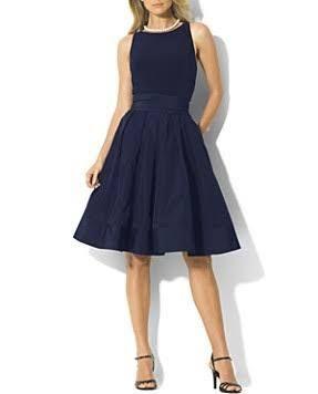 Lauren Ralph Lauren Dress - Jersey & Taffeta - Navy