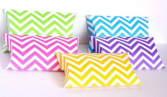 10 small Chevron Print Pillow Favor Boxes  / by ThePaperBazaar, $11.21