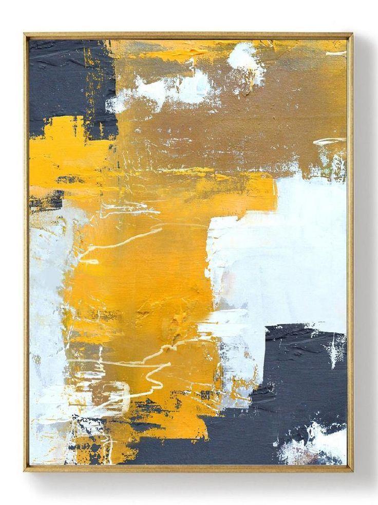 Original Orange Gelb Abstrakte Malerei Abstrakte Malerei Leinwand
