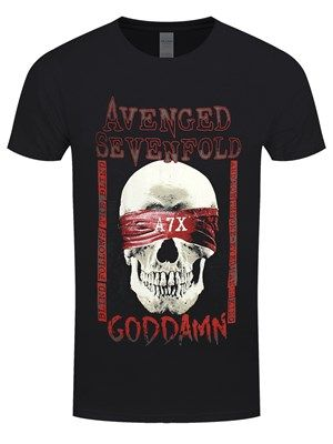 Pledge your allegiance to these Californian metal heads with this spectacular tee from Avenged Sevenfold. Featuring the title of hit song 'Goddamn' from their 2016 album, The Stage, this epic design is a must have for any A7X fan! Official merchandise.