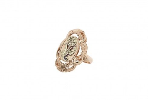 rose and yellow gold flower design ring
