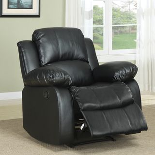 @Overstock.com - Coleford Black Faux Leather Tufted Transitional Reclining Chair - Kick back and relax in this Coleford black faux-leather reclining chair. The arms, back, and seat are overstuffed to maximize your comfort after a long day, and the pinewood frame keeps this chair sturdy and supportive through nap after nap.  http://www.overstock.com/Home-Garden/Coleford-Black-Faux-Leather-Tufted-Transitional-Reclining-Chair/6743465/product.html?CID=214117 $257.99