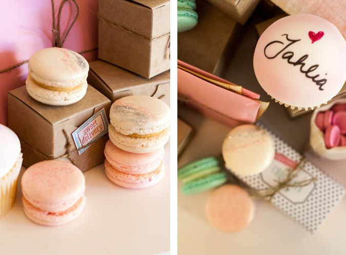 Sweet Magazine | Princess Postcard Party by Pretty and Print with glitter macarons and hand painted cupcakes.