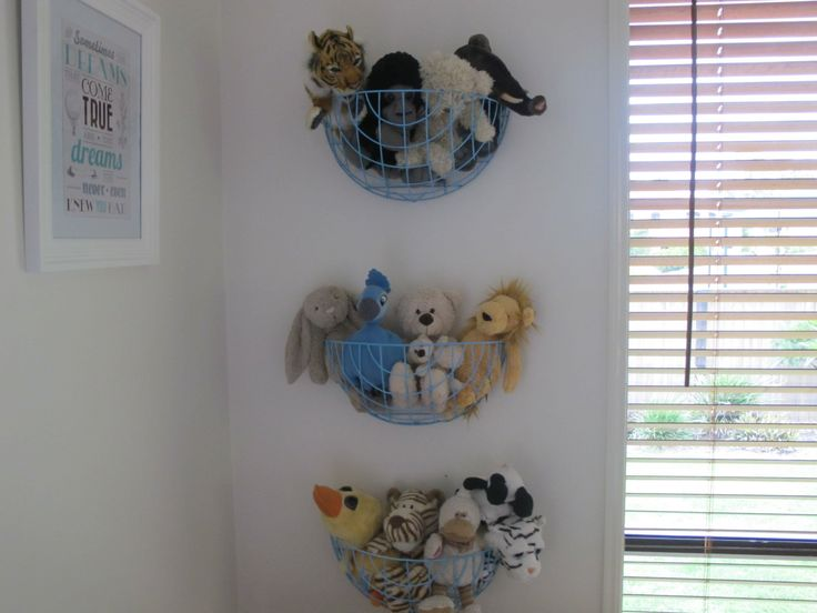 garden baskets for storing stuffed toys in a children's room. Could use these in the garden for storing toys such as balls & toy trucks...