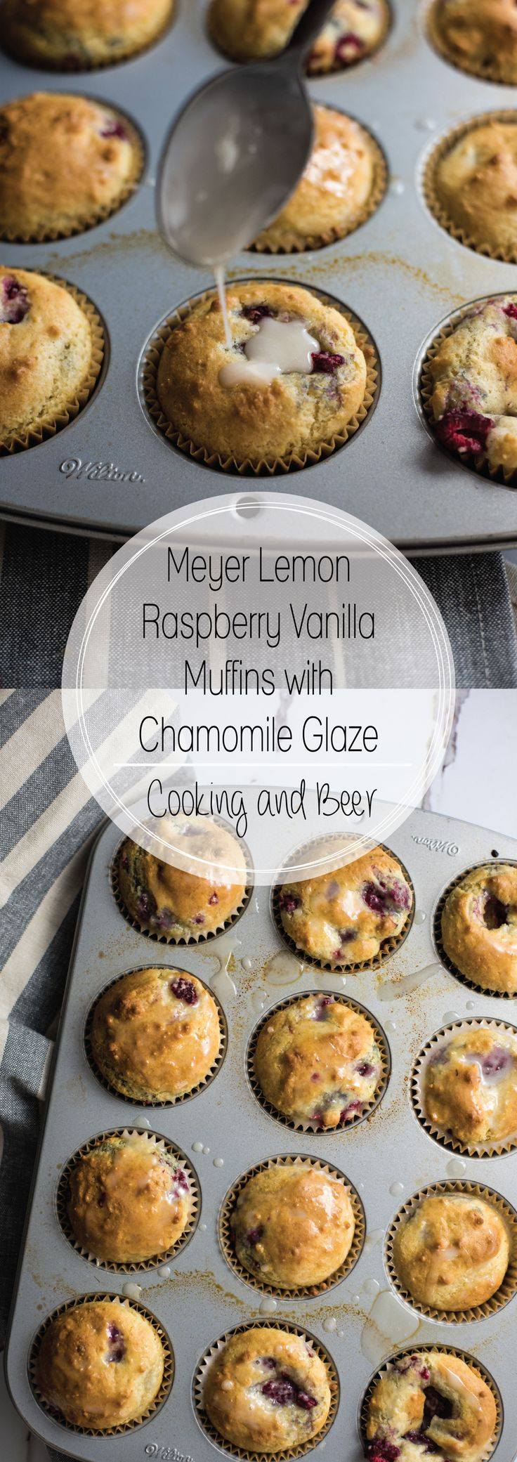 Meyer lemon raspberry vanilla muffins with chamomile glaze are the perfect recipe to whip up on Sunday morning. They are bursting with flavor!