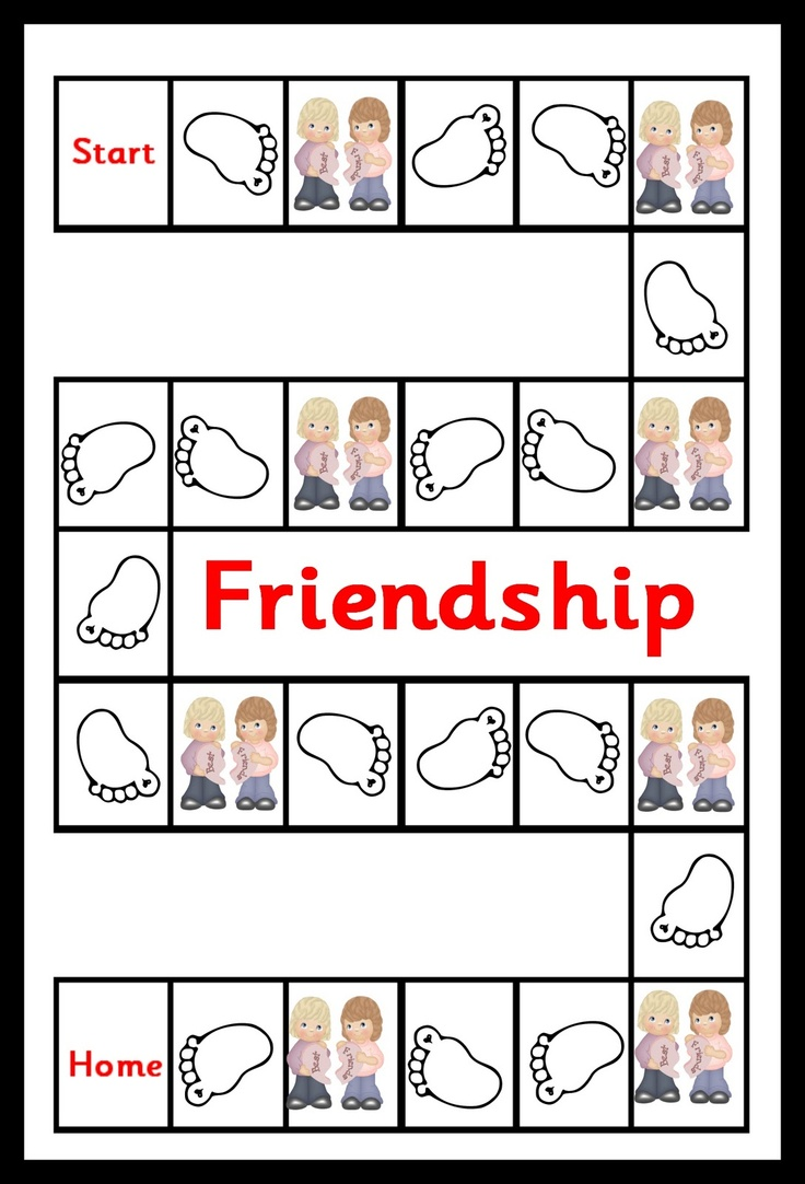 Friendship game - emotional literacy  This will print over 2 pages. Stick together and laminate. Child throws a die and follows the foot prints. If they land on the 'best friends' square then they must take a card and answer the question. If correct they can move forward 1 space. If incorrect they must go back 1 space. I am sure it will promote lots of discussion on what friendship really is.