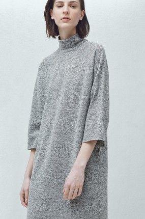 Sukienka z półgolfem szara luźna - Mango - Coti